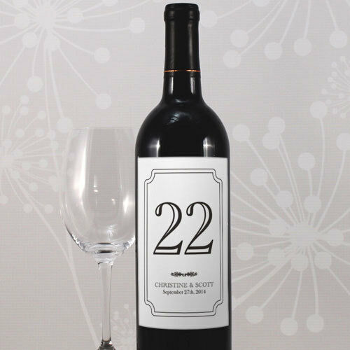 Typical Wedding Gift Amount: 24 Classic Wine Bottle Wedding Table Number Labels