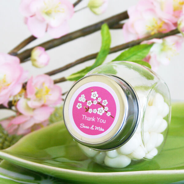 48 Cherry Blossom Personalized Wedding Favor Candy Jars 818395011194
