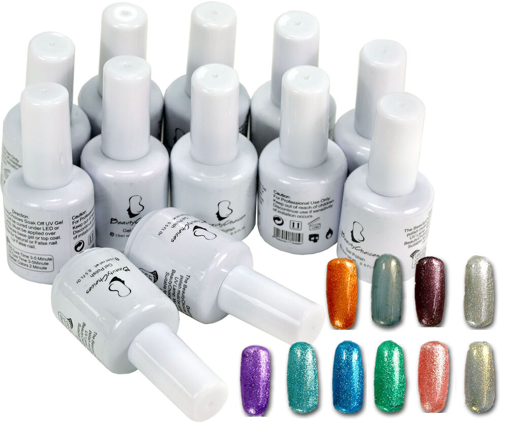 Nail Polish Tips: 12pcs Mix Metallic Glitter Colors Nail Art Tips Soak Off