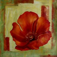 Giant Red Poppy Series 8, Ex. Large Modern Hand Painted Oil Painting 30x30in