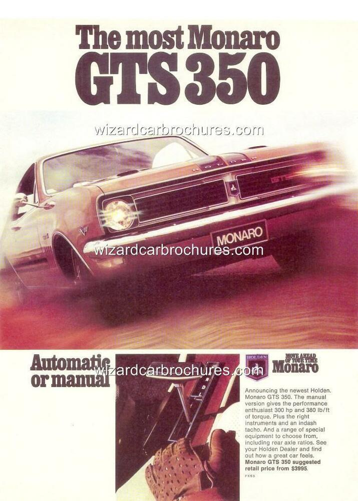1969 HT HOLDEN MONARO GTS 350 POSTER AD SALES BROCHURE MINT SET OF 3 | eBay