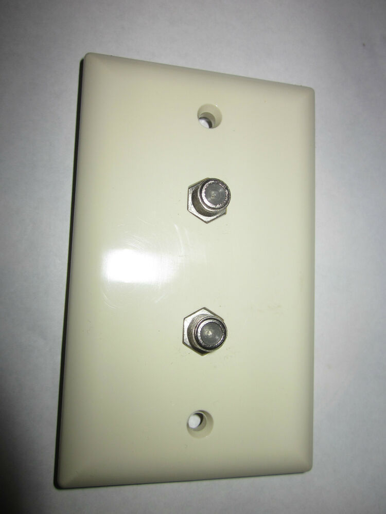 Dual Tv Cable Jack Wall Plate Off White Nos Ebay