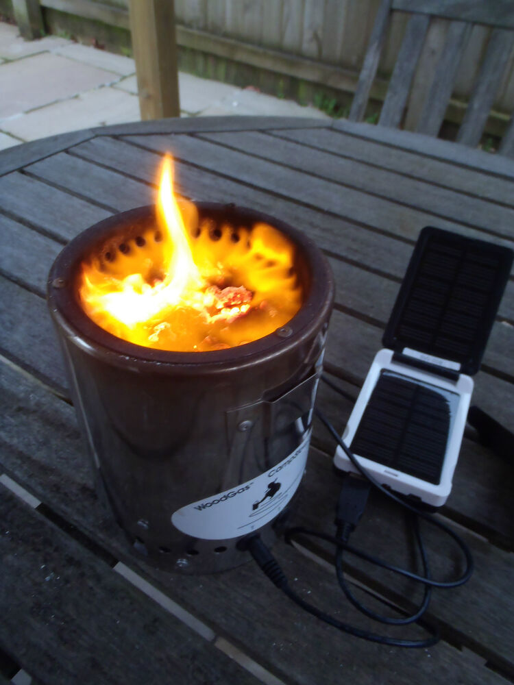 combo deal gassifying wood gas camp stove xl camping burner solar power pack ebay. Black Bedroom Furniture Sets. Home Design Ideas