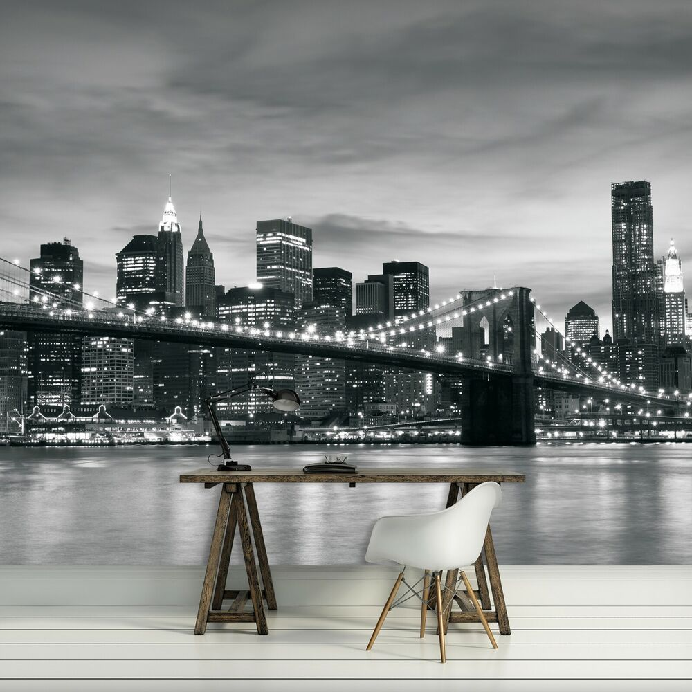 Photo wallpaper new york brooklyn bridge designer wall for Black and white new york mural wallpaper