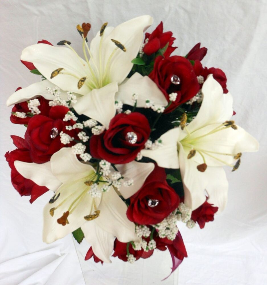 Real Vs Fake Flowers Wedding: Bridesmaids Wedding Bouquet, Real Touch Ivory Lillies Silk