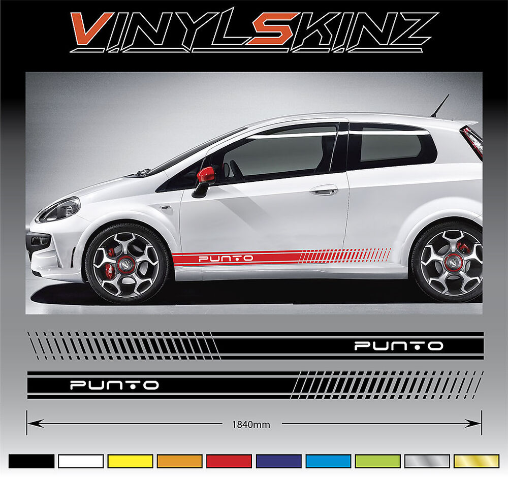 fiat punto premium side stripes decals stickers kit abarth 500 500c fait new 02 ebay. Black Bedroom Furniture Sets. Home Design Ideas