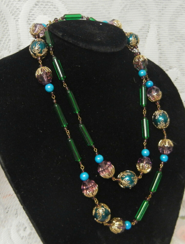 Antique Art Deco Venetian Art Glass Flower Beads Necklace