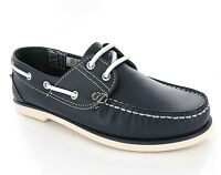 New Mens DEK Navy Blue Leather Moccasin Boat Deck Lace Shoes Loafers Size 6-12