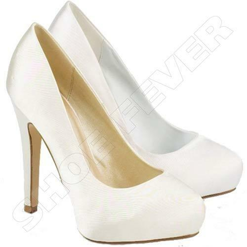 Bridal Shoes High Heels: WOMENS WEDDING SHOES LADIES HIGH HEELS SATIN BRIDAL WHITE
