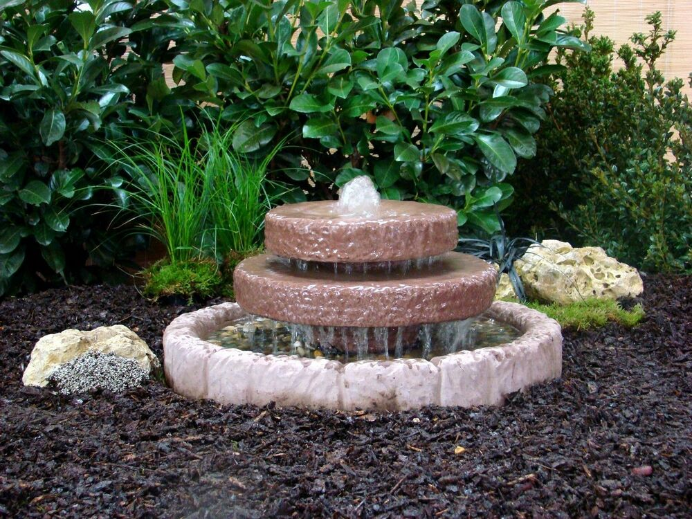 kaskadenbrunnen springbrunnen brunnen wasserspiel werksandstein stein 43kg ebay. Black Bedroom Furniture Sets. Home Design Ideas