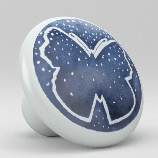 Blue butterfly ceramic knobs pulls kitchen bathroom drawer for Bathroom knobs and pulls