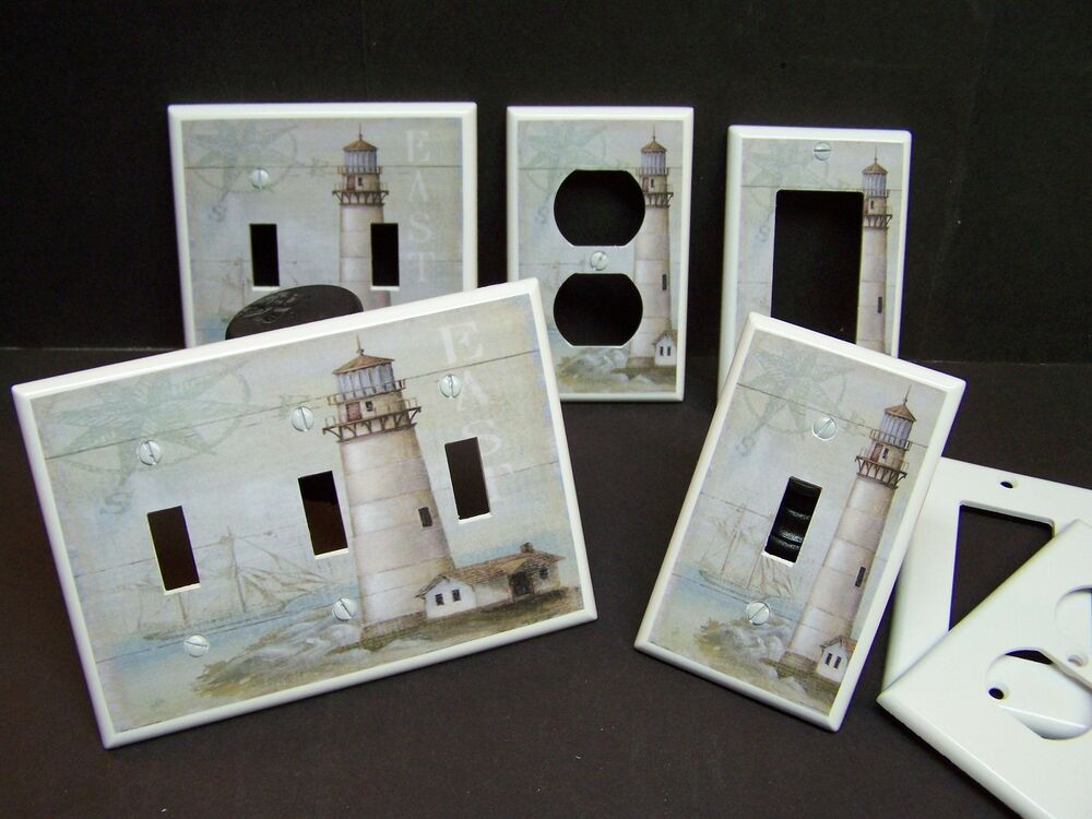 Lighthouse nautical 3 light switch cover plate or outlet for Lighthouse switch plates