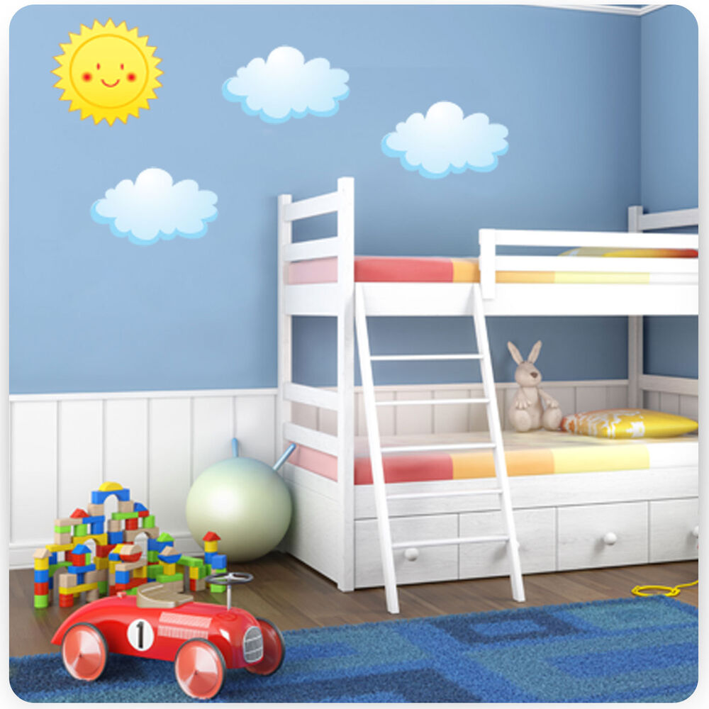 Childrens kids bedroom sun and clouds wall art stickers for Boys wall art