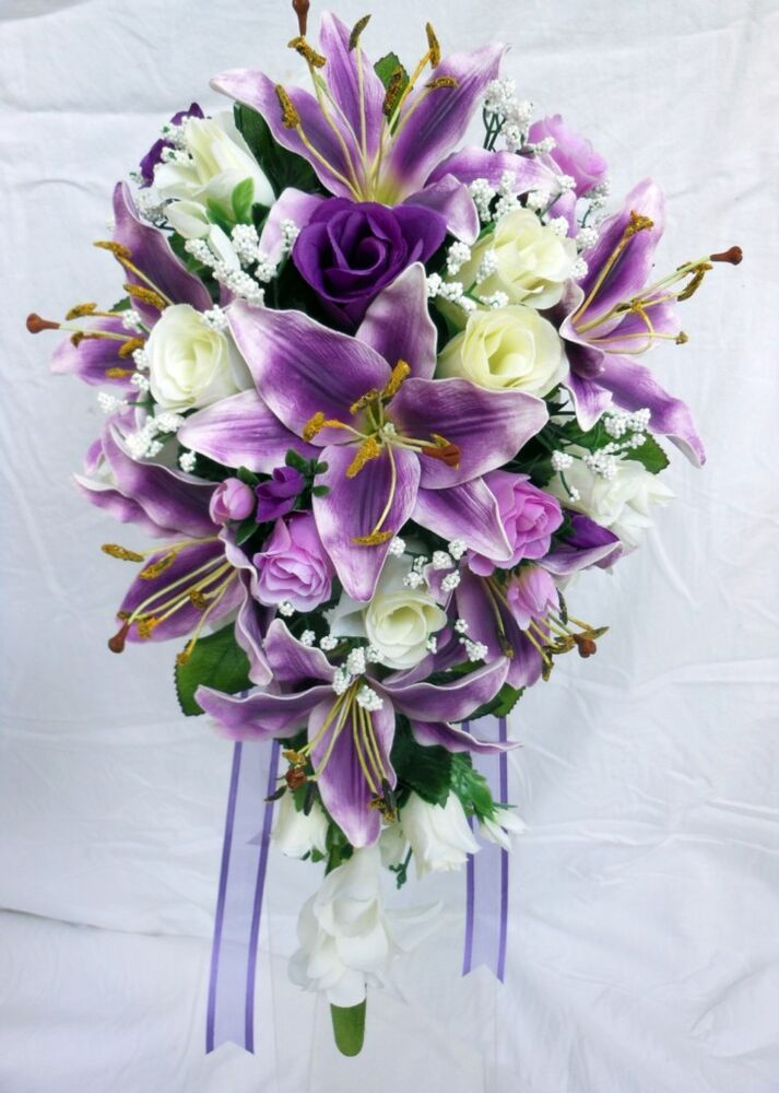 rose bouquet for wedding teardrop wedding bouquet purple lillies ivory purple 7112