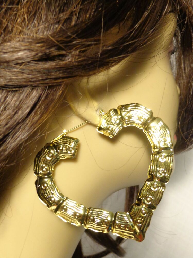 Large Gold Cream Full Face Adult Carnival Stick Mask: LARGE 3.5 INCH BAMBOO HEART HOOP EARRINGS IN SILVER AND