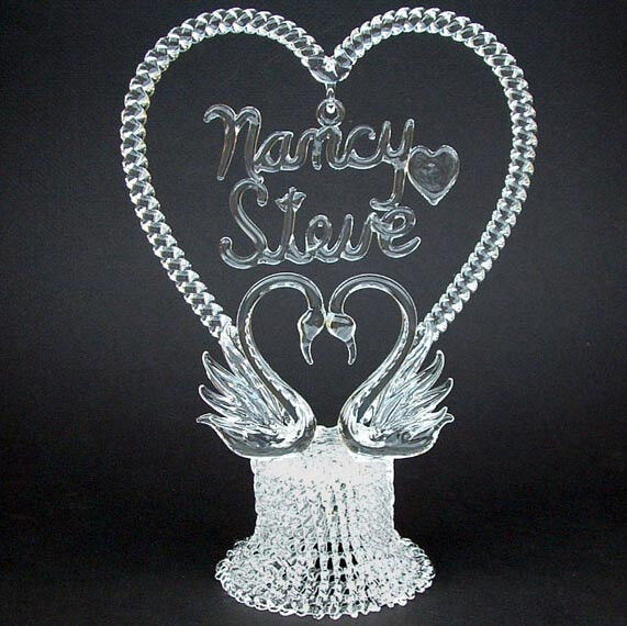 personalized glass wedding cake toppers personalized glass swan swans wedding cake top topper ebay 18263