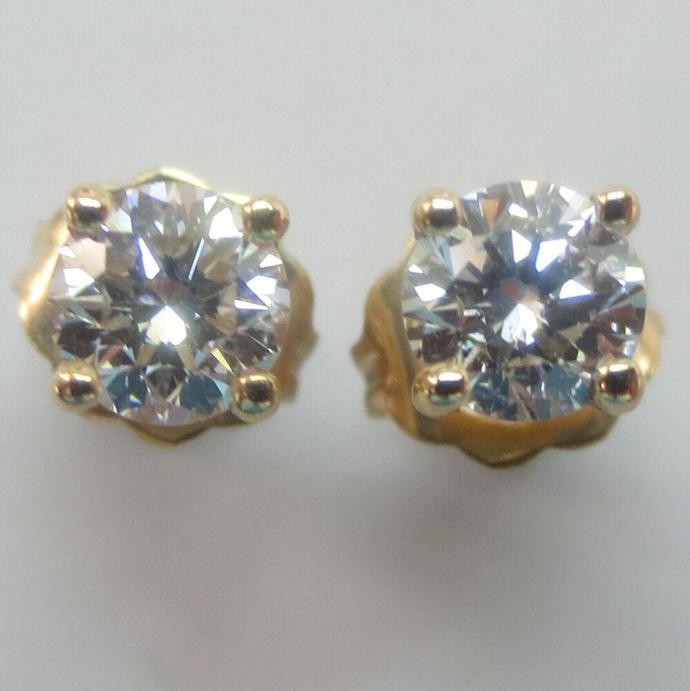 two earrings 1 2 carat brilliant cut polished diamonds gold stud 2411