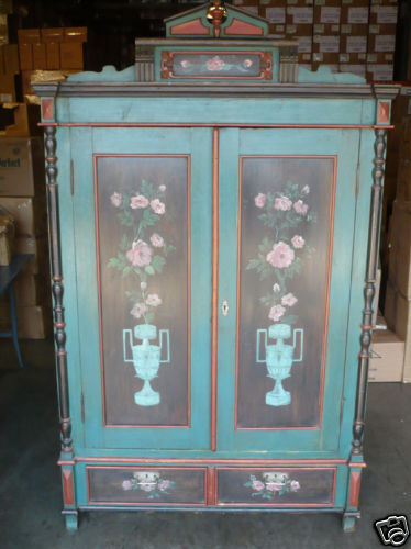 Antique Old Wooden Wood European Painted Armoire Wardrobe