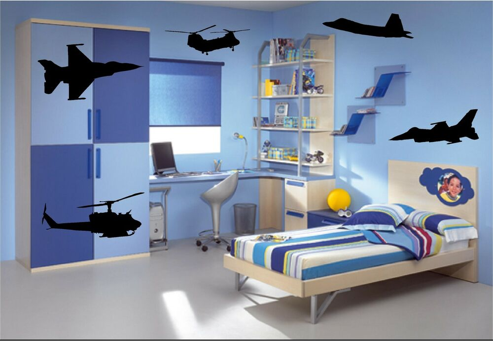 5 x military aircraft wall art stickers vinyl art for Airplane cockpit wall mural