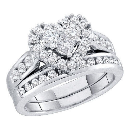 14k bridal engagement set heart diamond band ring 1 ct ebay
