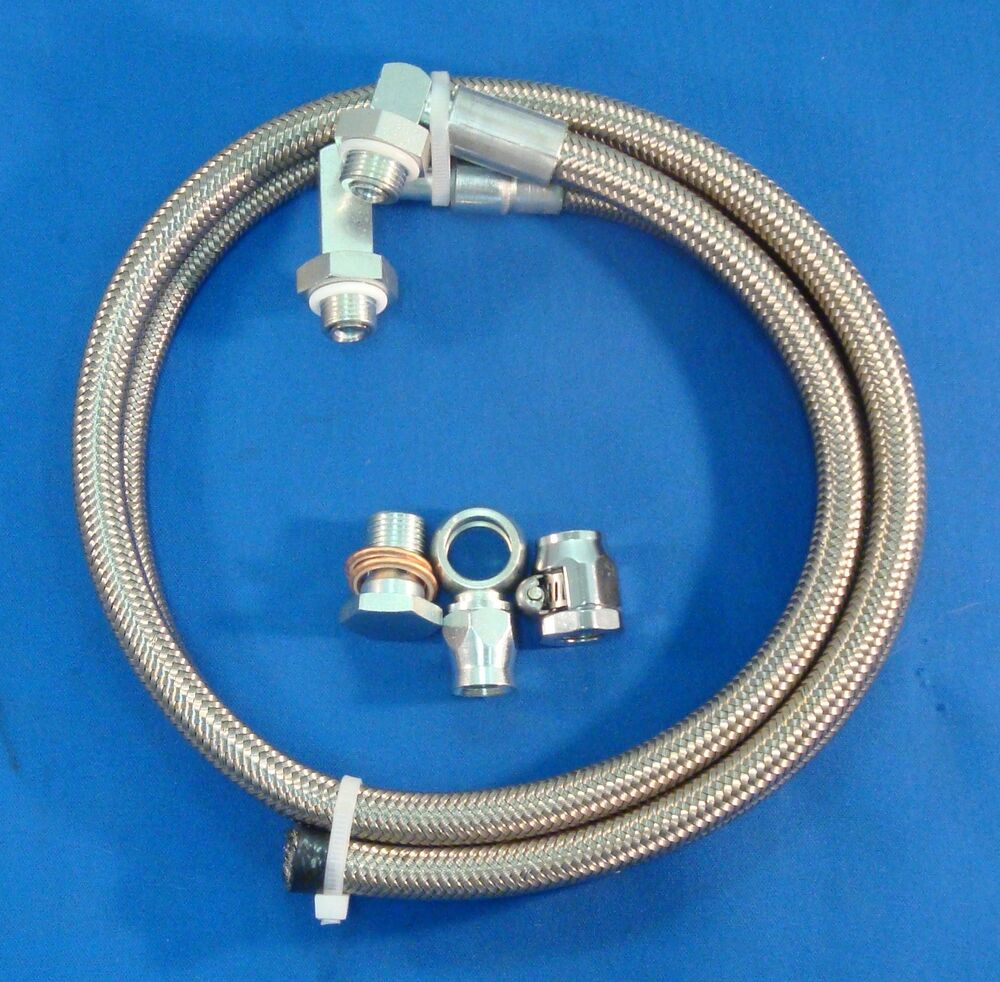 Stainless Power Steering Lines : Braided stainless steel power steering hose kit ford rack