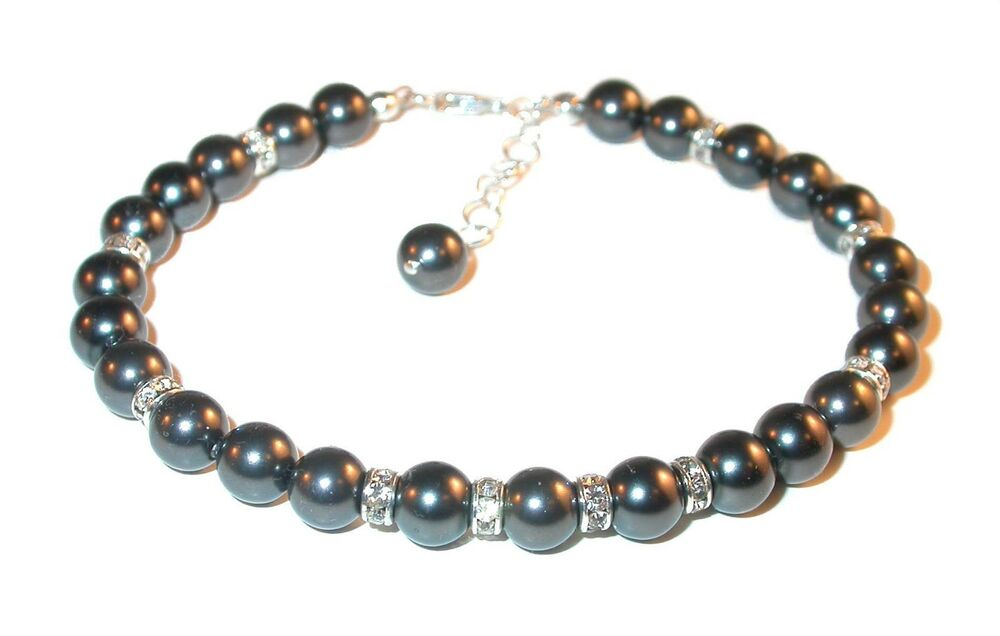 black pearl bracelet sterling silver handcrafted beaded