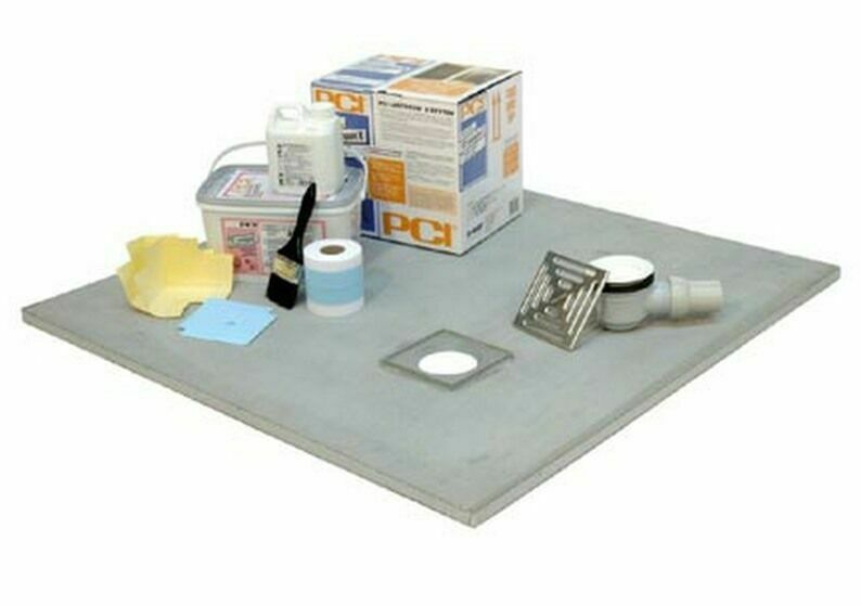 Wetroom kit for vinyl flooring tray round stainless for Wet room shower tray for vinyl