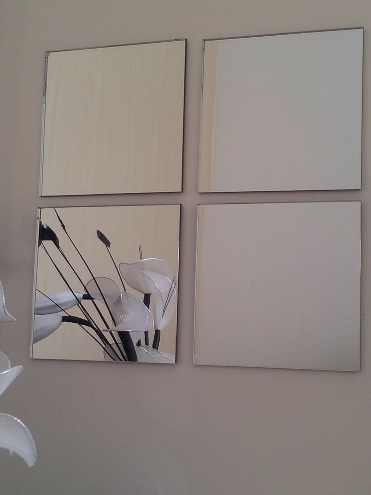 acrylic mirror tiles 200x200mm self adhesive pads x4 ebay. Black Bedroom Furniture Sets. Home Design Ideas