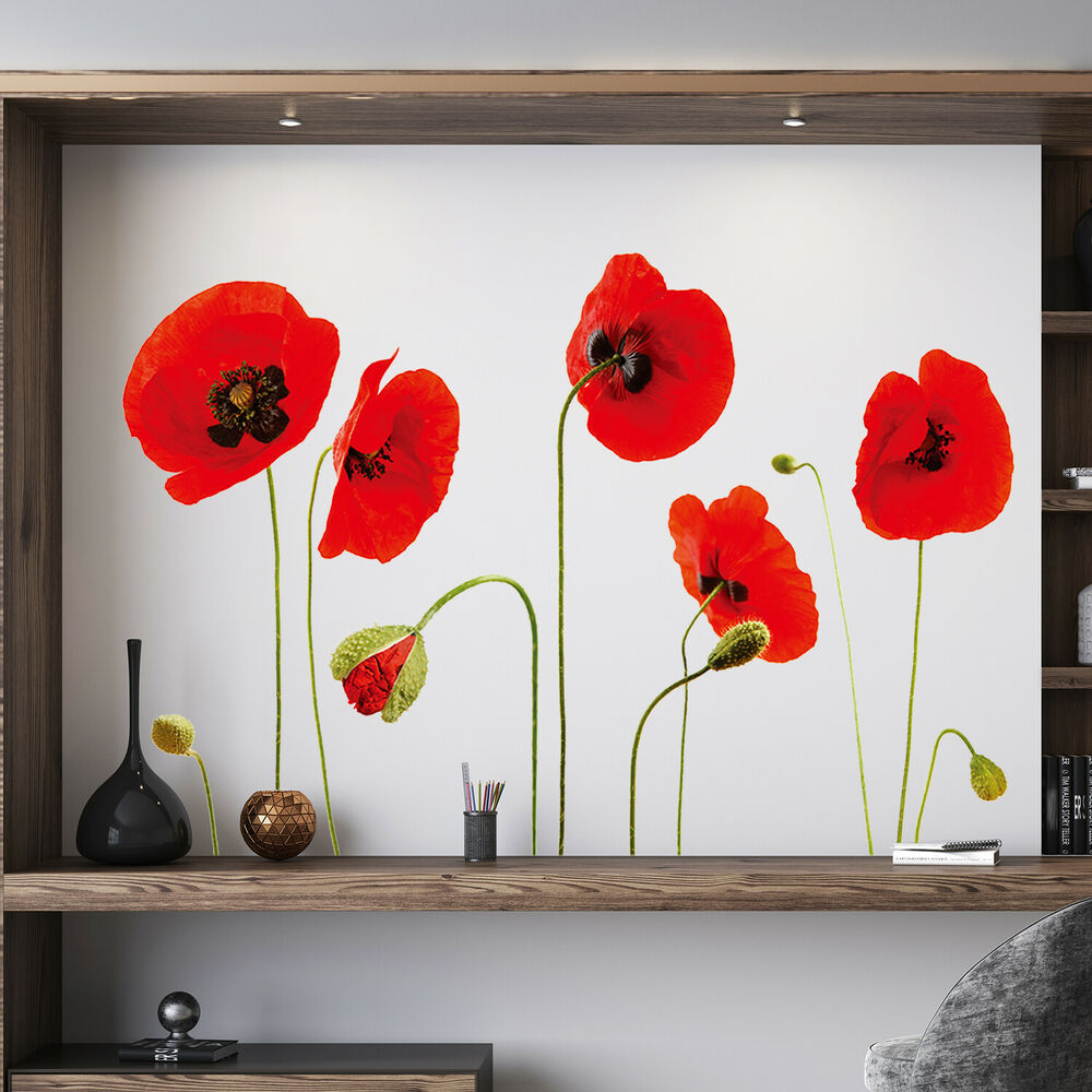 Red Poppy Flowers Decal Wall Stickers Art Mural Children