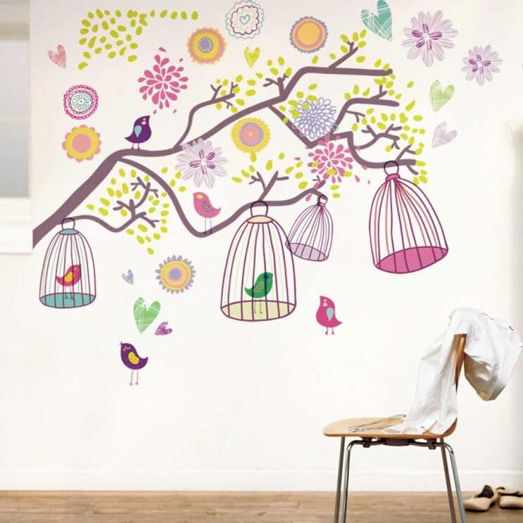 colorful flowers birdcages wall stickers art mural