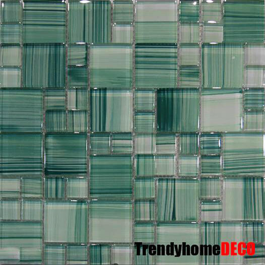 Green Hand Crafted Pattern Glass Mosaic Tile Kitchen Backsplash
