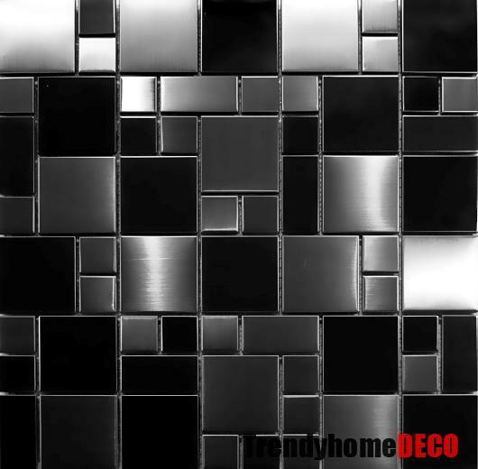 Sample Stainless Steel Metal Pattern Mosaic Tile Kitchen: SAMPLE- Unique Black Stainless Steel Pattern Mosaic Tile