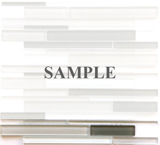 Sample White Gray Random Subway Glass Mosaic Tile Kitchen