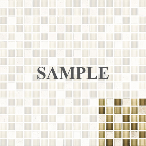 Sample Marble Green Brown Glass Linear Mosaic Tile: SAMPLE- Brown Cream Beige Glass Travertine Mix Mosaic Tile