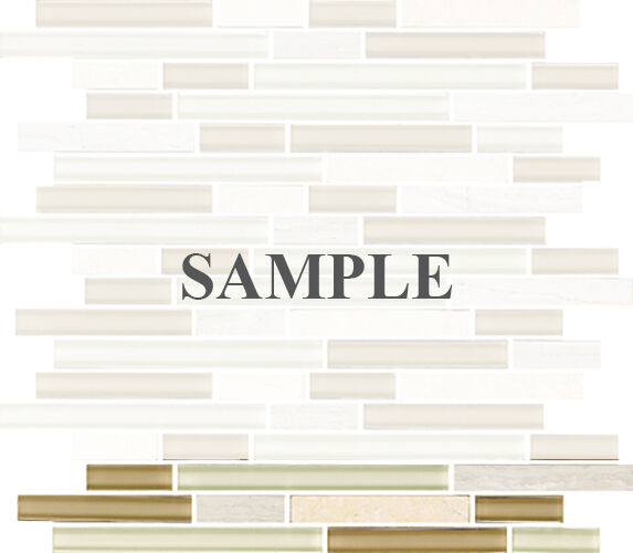 Sample White Glass Stone Metal Linear Glass Mosaic Tile: SAMPLE- Beige White Linear Glass Mosaic Tile Kitchen