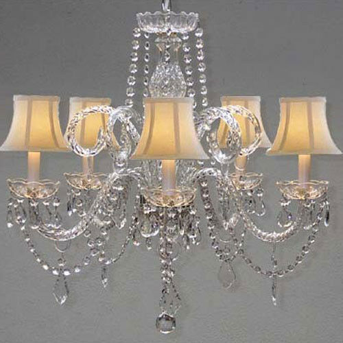 Crystal Venetian Chandeliers: New! VENETIAN STYLE ALL CRYSTAL CHANDELIER WITH WHITE