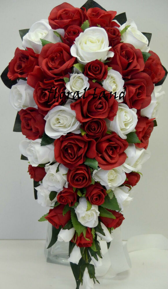 red and black wedding bouquets wedding bouquet silk white teardrop bouquets 6990