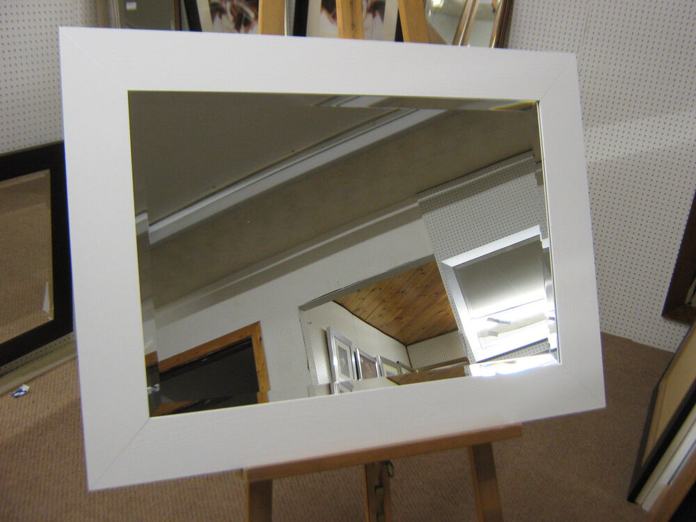 New large 3 flat white solid oak framed overmantle wall for Large framed mirrors for walls