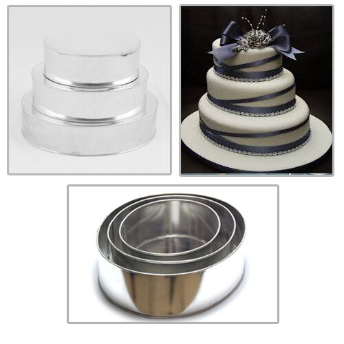 round wedding cake pans 3 tier heavy duty oval wedding cake tins 8 quot 10 quot 12 quot ebay 7145