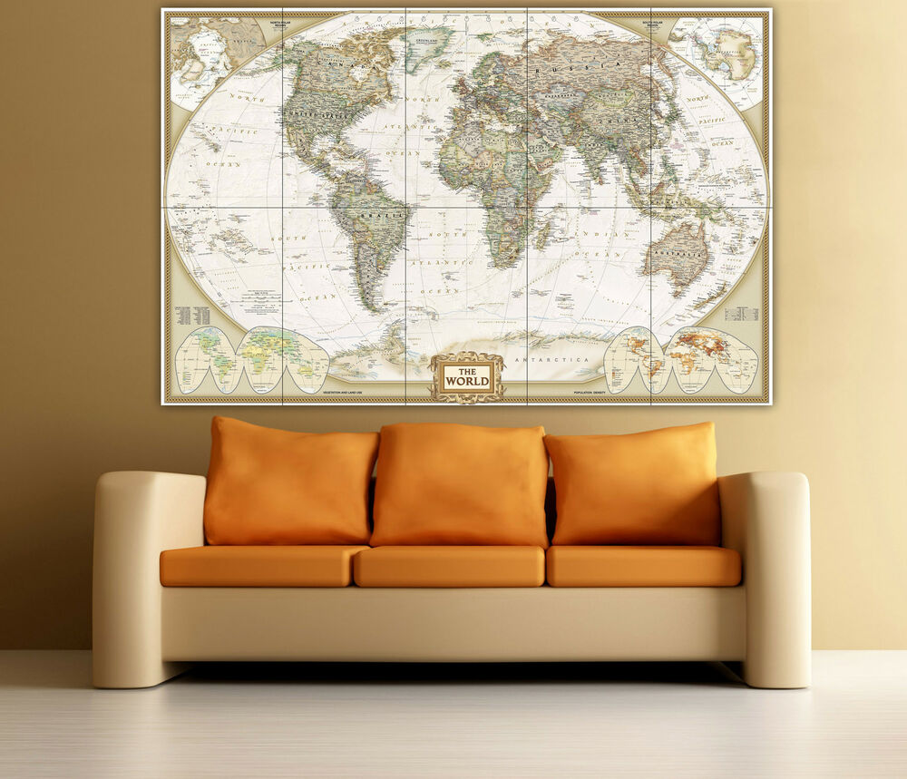 Large World Political Map Big Wall Art Poster Print eBay