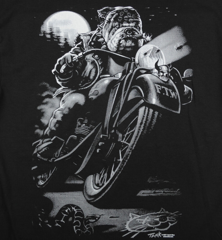 Cats Suck Biker T-Shirt Black Bulldog Riding With Cigar
