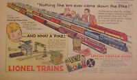 1954 Lionel Trains Magne~Traction Model Railroad Boys Kids Toy Down The Pike Ad