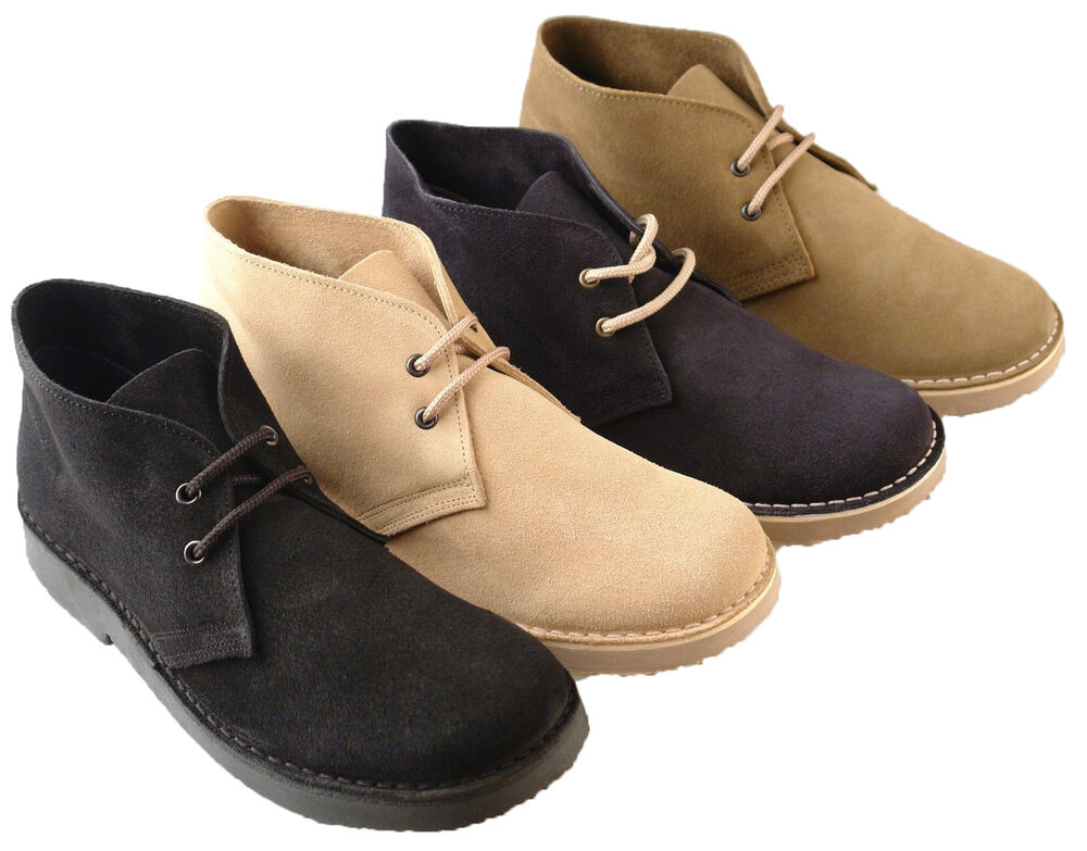 mens new wide fitting desert suede boots shoes in 4