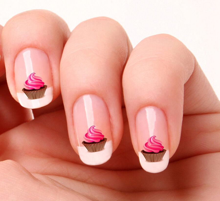 Health Beauty Nail Toe Art: 20 Nail Art Decals Transfers Stickers #08 - Cup Cake