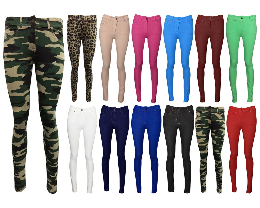 NEW LADIES SKINNY FIT COLOURED STRETCHY JEANS WOMENS JEGGINGS ...