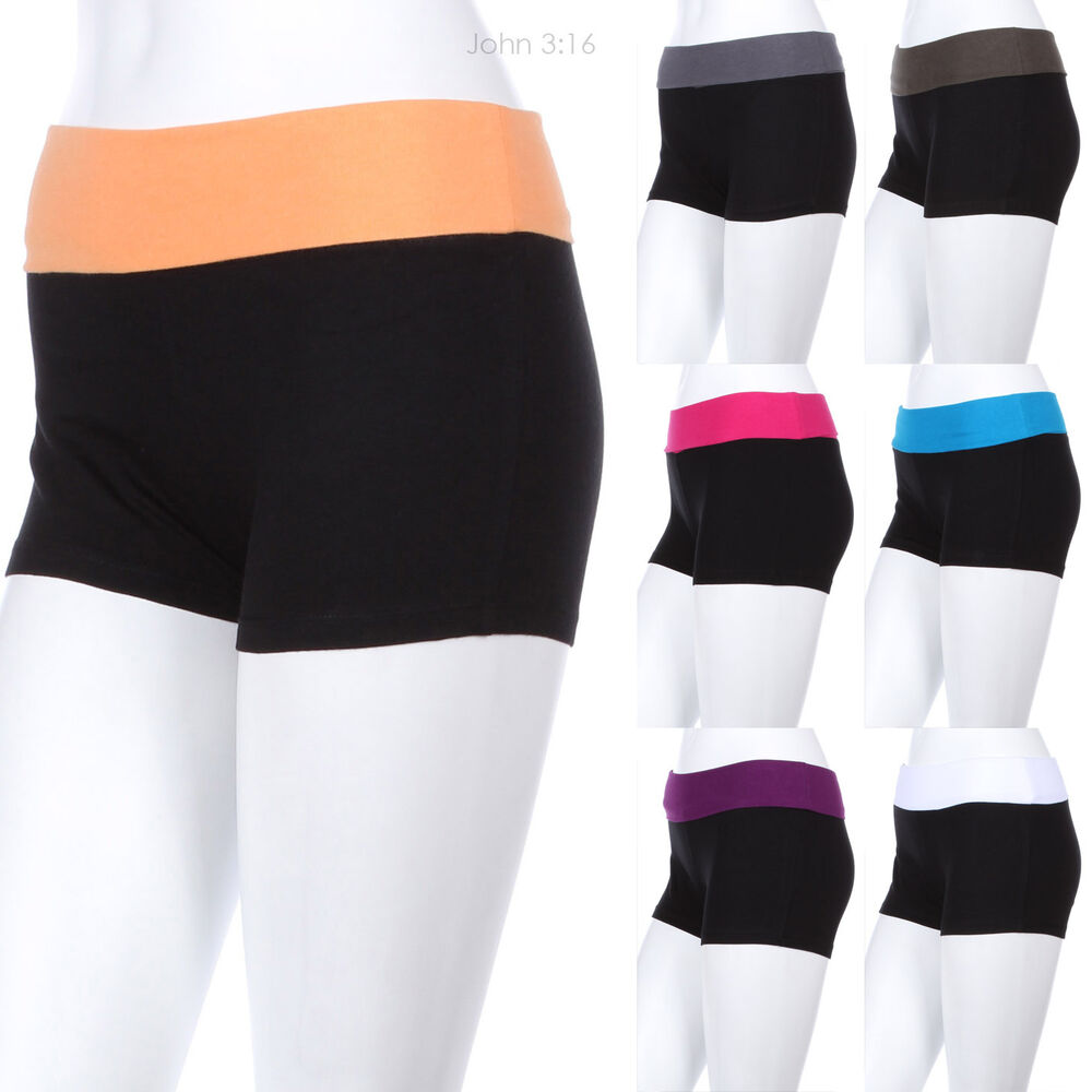 Two Tone Color Fold Over Waistband Athletic Yoga Shorts