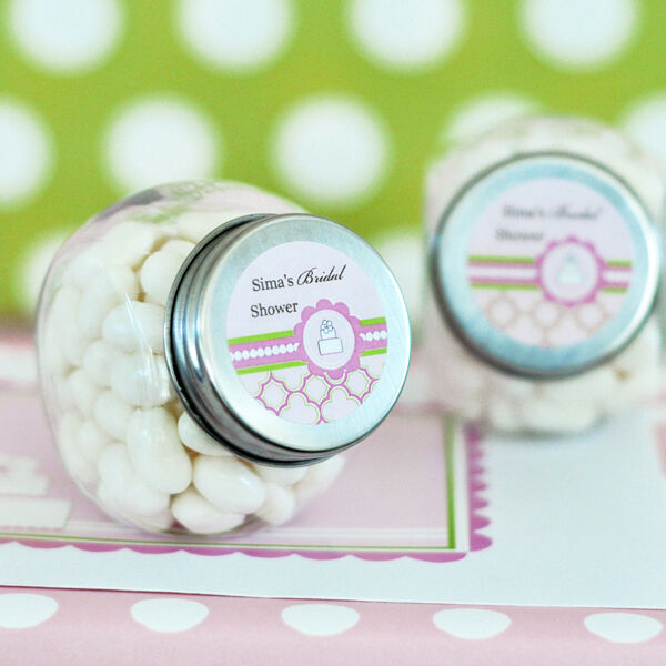 24 Pink Cake Wedding Bridal Shower Theme Personalized Candy Jars Favors Lot