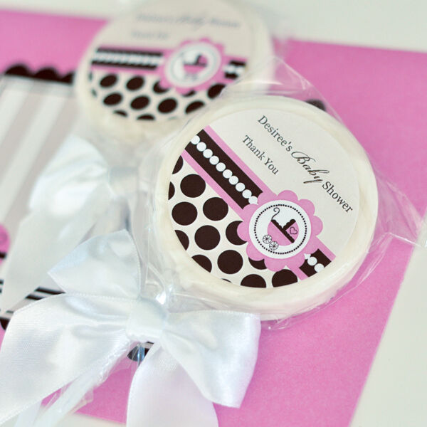 24 pink baby theme lollipops personalized lollipop baby shower