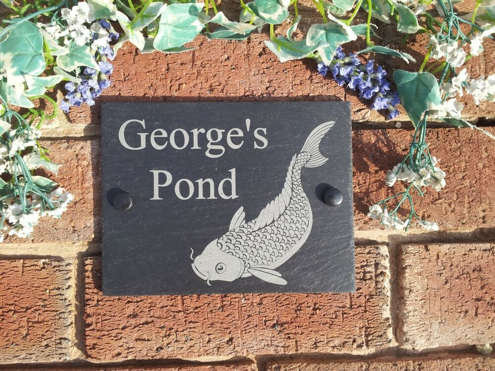 Personalised koi pond natural slate plaque koi carp design for Carp pond design