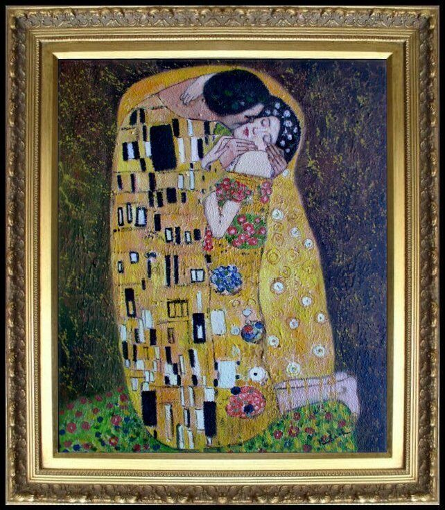 Framed gustav klimt the kiss reproduction hand painted for Framed reproduction oil paintings